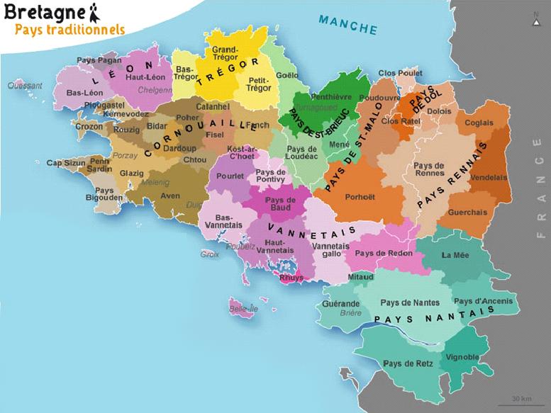 Carte des pays de Bretagne